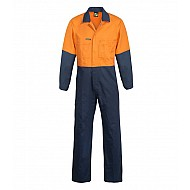 HI VIS POLY/COTTON TWO TONE COVERALLS 210gsm